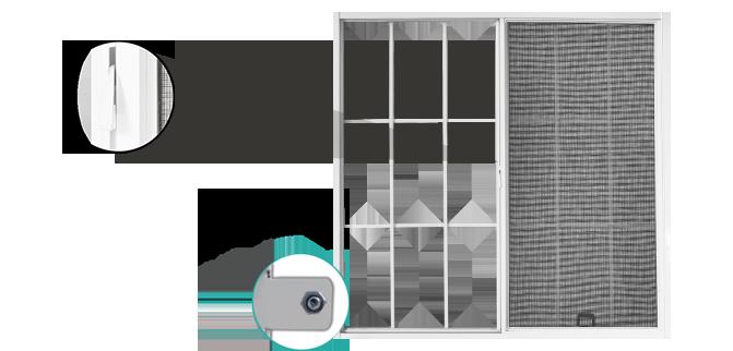 ventana con protector